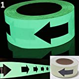 Luminous Glow In The Dark Tape Safety Self-adhesive Stage Home Design Decals (5cm x 5m, Green Arrow)