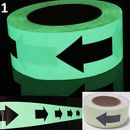 Luminous Glow In The Dark Tape Safety Self-adhesive Stage Home Design Decals (5cm x 5m, Green Arrow) by bearfire