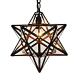 Bieye L10077 12-inch Moravian Star Tiffany Style Stained Glass Ceiling Pendant Lamp - 51-inch Tall (Clear Glass)