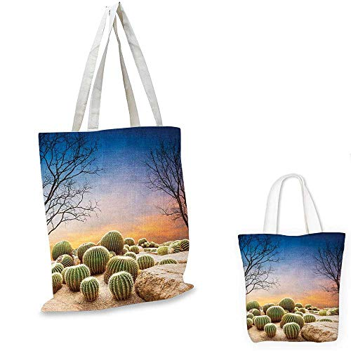 Cactus non woven shopping bag Cactus Balls with Spikes on a Montain Desert Sand Hot Dry Mexican Landscape Photo fruit shopping bag Multicolor. 12
