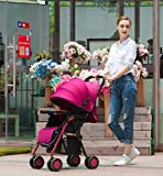 HGYG Fashion Portable Baby Stroller fold Sloping Chair Newborn Infant Umbrella Carriage City Select Suitable for 0-3 Years Old (Wine red)