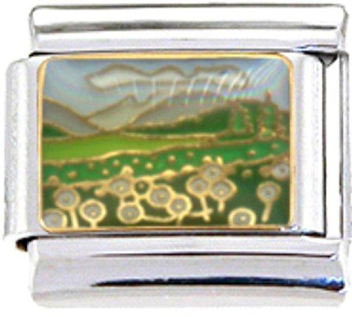 VALLEY HILLS FLOWERS Enamel Italian Charm 9mm Link - 1 x GA056 Single Bracelet - Traditional Italian Charm