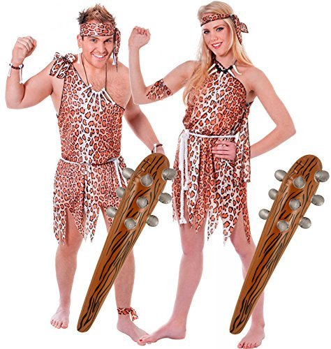 Couples Caveman & Cavewoman Fancy Dress Costume + 2 Inflatable Clubs by Party Central (Couples Caveman Costumes)