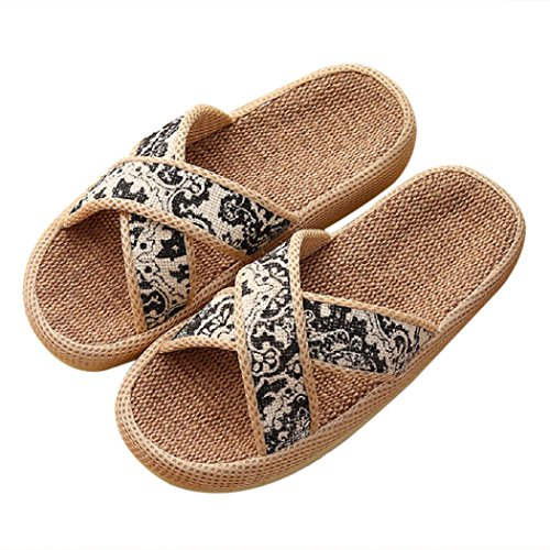 Slippers Cotton Printed Non Flax Unisex House slip Retro Black Couple Moxeay TPR TEAv5w5q
