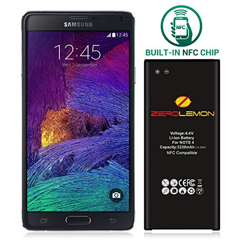 ZeroLemon Note 4 Battery Compatible with Galaxy Note 4 3220mAh Slim Battery with NFC for Galaxy Note 4 [N910, N910U LTE, at&T N910A, Verizon N910V, Sprint N910P, T-Mobile N910T] (Zerolemon Replacement Battery)
