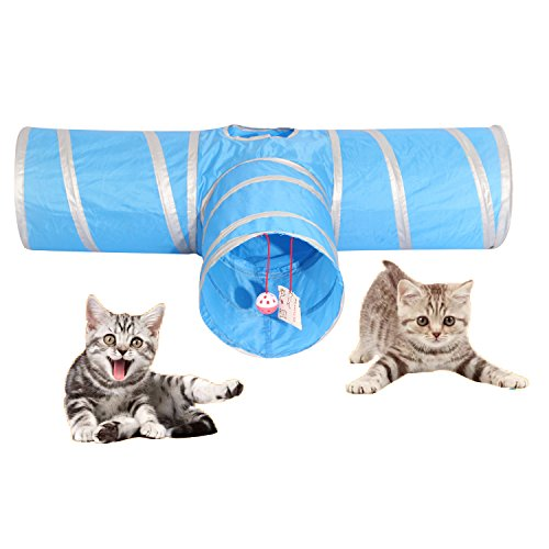 AikoPets Cat Tunnel Collapsible Pet Play Toy Tunnel with Ball Tube Fun for Cat Dog Rabbits Kittens (Blue+Sliver) ()