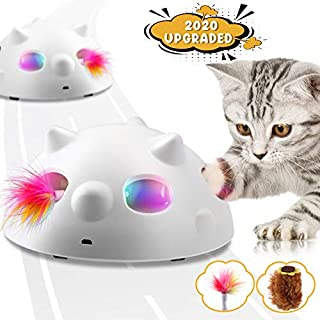 Biilaflor Peek-A-Boo Interactive Cat Toy, Low Noise Electronic Cat Toys with 900Mah Rechargeable Battery &3 Speed Model, 360°Self Rolling Feather Robotic Cat Toy for Indoor Cats