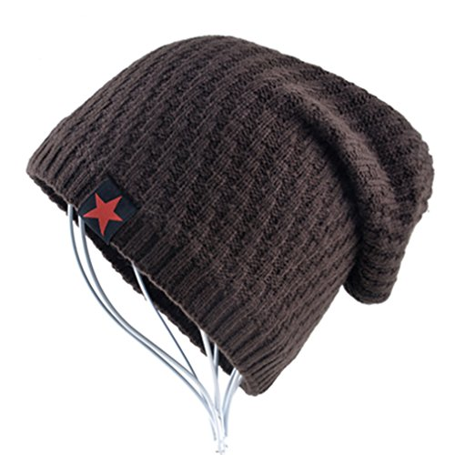 KCJDKW&UEN The New Bonnet Red Star Hat Men's Winter Beanie Man Skullies Knitted Wool Beanies Men Winter Hats Hip Hop Caps Autumn Brown -