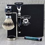 Top Men's 3 PCS Shaving Set > SliverTip Badger Brush, Gillette Mach3 & Dual Stand for Brush & Razor| Grooming Kit Gift