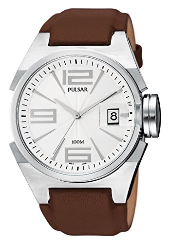 Pulsar PXH499 42 Stainless Steel Case Brown Leather Mineral Men's Quartz Watch