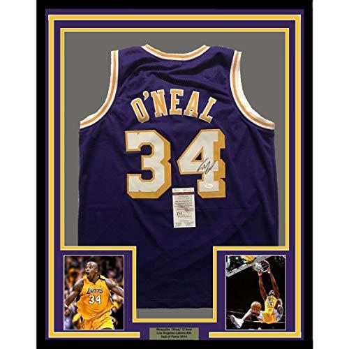 (Framed Autographed/Signed Shaquille Shaq O'Neal 33x42 Los Angeles LA Purple Basketball Jersey JSA COA)