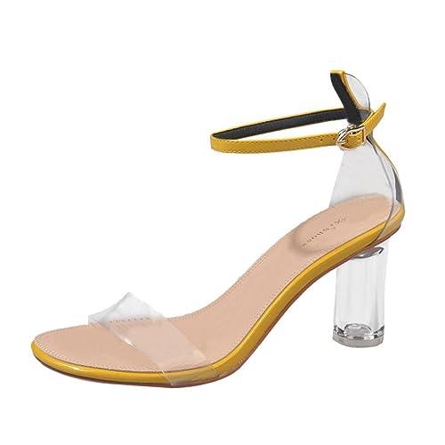 venta directa de fábrica despeje comparar el precio Gusspower Sandalias Mujer Verano Zapatos Cristalinos de Tacón Transparente  Moda Chanclas Vacaciones Casual Zapatillas Tacones Ásperos 7.5cm Cerrojo