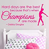 trfhjh Quotes Wall Sticker Home Art Gymnastics Dance Girls Sport Vinyl Wall Decor,Champions Saying Wall Stickers,Inspiration Quote Mural Decal for Home DecorFor Bedroom Living Room Kids Room