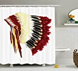 Ambesonne Native American Decor Collection, Original Ethnic Symbolic Mystic Eagle Feather Headdress Indian Indigenous , Polyester Fabric Bathroom Shower Curtain, 75 Inches Long, White Red Black