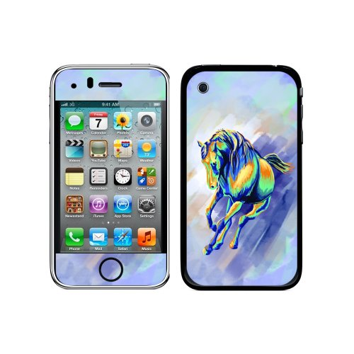 (Graphics and More Protective Skin Sticker Case for iPhone 3G 3GS - Non-Retail Packaging - Horse Running Abstract, Painterly Expressionism)