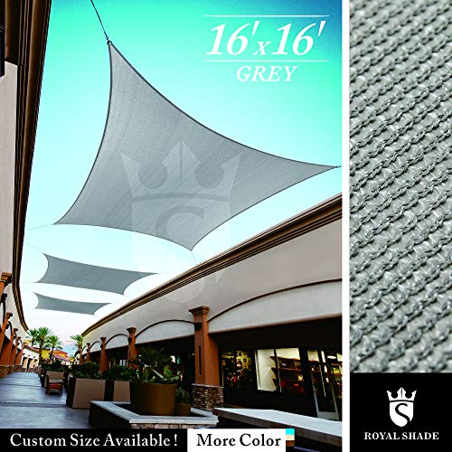 (Royal Shade 16' x 16' Gray Triangle Sun Shade Sail Canopy Outdoor Patio Fabric Shelter Cloth Screen Awning - 95% UV Protection, 200 GSM, Heavy Duty, 5 Years Warranty, We Make Custom Size)