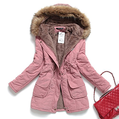 Womens Faux Fur Lined Parka Coats Outdoor Winter Hooded Long Jacket Pink US L (Pink Coat)