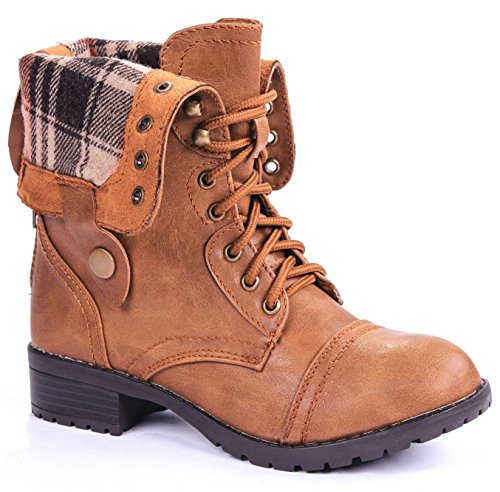 Women Military Combat Foldable Cuff Faux Leather Plaid/Quilted Back Zipper Lace Up Boots (9 M US, Chestnut) - Womens Military Boots