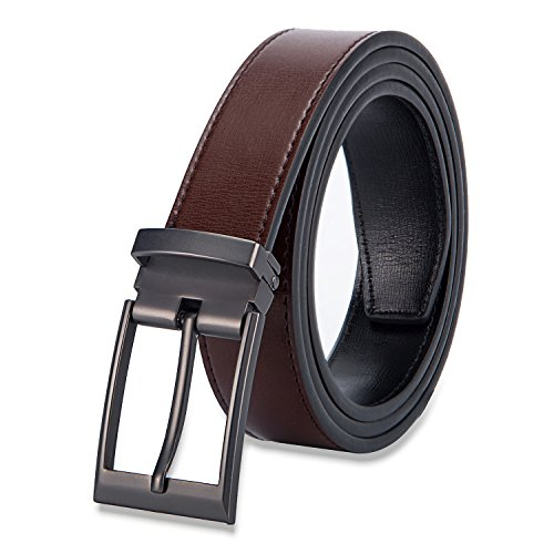 Vayeebo Top Leather Belt -Classic Designs-Removable Buckle, Gray Buckle(coffee), 32-44inch