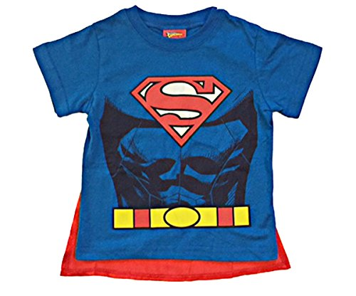 DC Comics Superman Toddler Boys Cape T Shirt (5T) (Superman T Shirt With Cape)