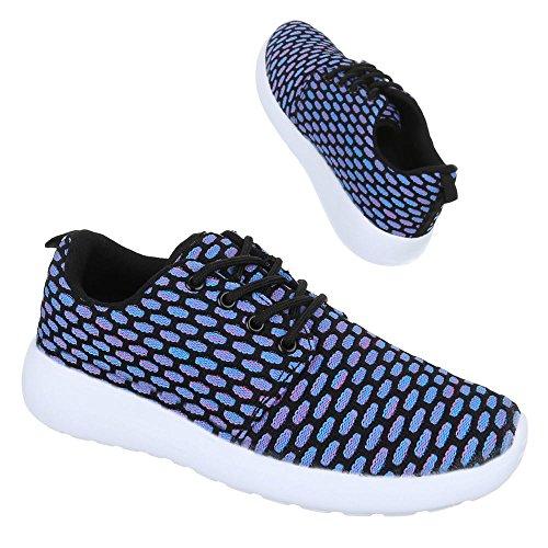 Ital-Design - Zapatillas de tela para mujer Azul - Blau Schwarz
