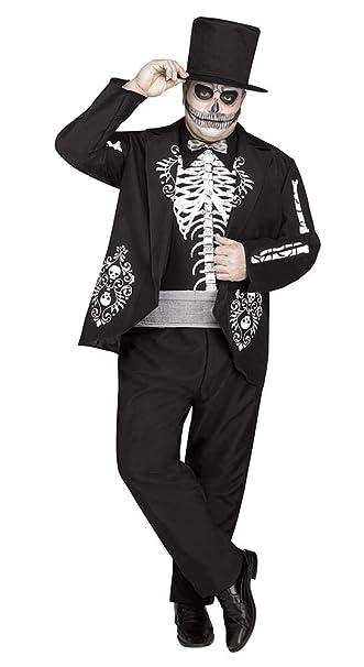 Amazon.com: Esqueleto Rey Disfraz Adulto Mens Día de los ...