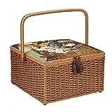 Cesta de costura, cesta de costura para el hogar Organizador de almacenamiento Contenedor tejido a mano Caja de costura para hilo Agujas, tijeras, alfileres, dedales