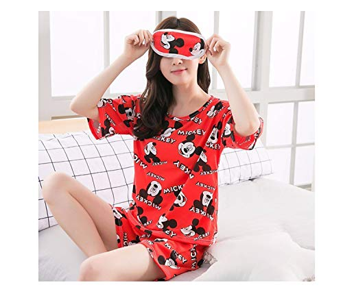 Factory Wholesale Summer Women Pajamas Set Send Goggles Short Sleeve Nightgown Cartoon Cute Sleepwear Suit Girl Pijamas Mujer X Q Hong mi 0039 XL