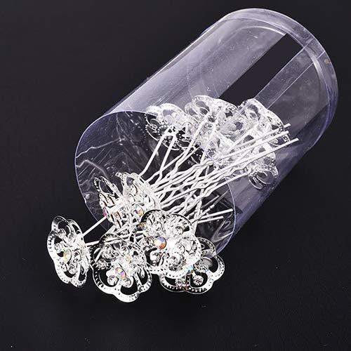 (12 PCS Rhinestone Exquisite Rose Flower Bridal Hair Accessoriesgirls Wedding Shiny Crystal Bun Maker Hair Pins FJ0166B)