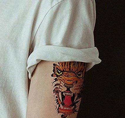 Oottati Tatuajes Temporales Tigre Lobo (2 hojas): Amazon.es: Belleza