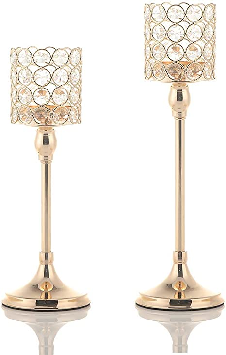 Large 12 Medium 10 Special Events Ideal for Home Decorations for Living Room H Small 8 QUABY Retro Gold Candle Holders Rattan-Knit Style Set of 3 Dining Room Table,Weddings Parties