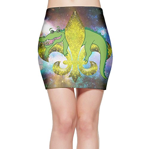 Alligator Fleur De Lis Women's High Waist Bodycon Pencil Skirt Strethcy Short Fitted Mini (Fleur De Lis Skirt)