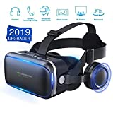 [ 2019 New Version ] WorldSeng VR Headset,VR Headset with Stereo Headphone, Eye Protected HD Vr Headset for 3D Movies and Games, Lightweight Virtual Reality,Cardboard For iPhone and Android Smartphons
