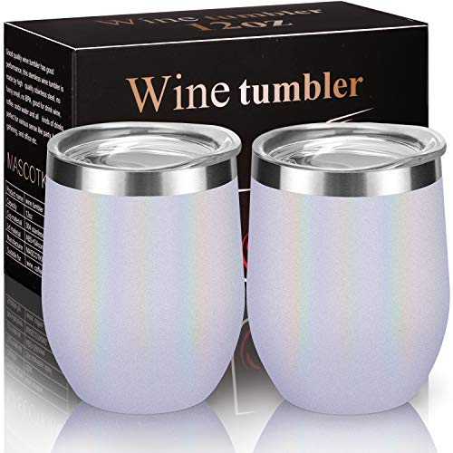 MASCOTKING Wine Glasses Tumbler - 12 oz 2 Pack - Double Wall Vacuum Insulated Cup with Lids for Keeping Wine, Coffee, Drinks-Beverage Warm in Winter-Perfect Fathers Day Gifts(2PACK 12oz, Flash White)