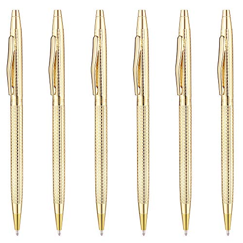 Gold Plastic Pens - Unibene Slim Metallic Retractable Ballpoint Pens - Carved Gold, Nice Gift for Business Office Students Teachers Wedding Christmas, Medium Point(1 mm) 6 Pack-Black ink