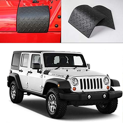 JeCar Black Cowl Armor Cowl Cover Body Armor Corner Guards Accessories for 2007-2017 Jeep Wrangler JK JKU Rubicon Sahara Sport X & Unlimited 2/4 Door 1Pair