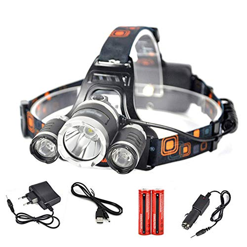 OLDF Fishing Headlamp LED,T6 R2 Headlight 4-Mode Headlamp Head Hunting Camping Flashlight for Riding Reading Rainy Weather Head-Mounted Light