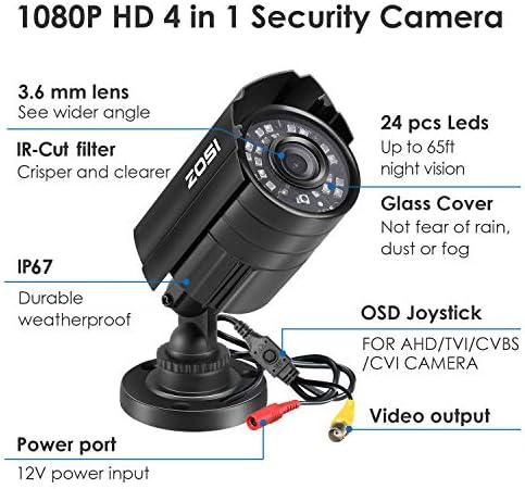 ZOSI 1080P Hybrid 4-in-1 HD TVI/CVI/AHD/CVBS 1920TVL 2.0MP CCTV Camera Home Security System 80ft Day/Night Vision Metal Waterproof Housing For 960H,720P,1080P,5MP,4K analog Surveillance DVR 51cQBb6dsUL