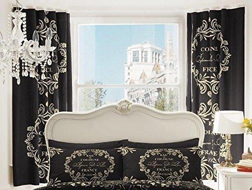 LUXURY PRINT BEDROOM CURTAINS SET 66 X 72 SCRIPT PARIS CHIC FRENCH TEXT BLACK by Gaveno Cavailia