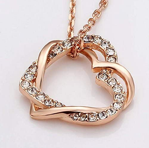 CS-DB Lovely Cute Bottle Rose Gold Love Heart Pendants Silver Necklaces