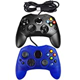 Mekela Classic wired Controller Gamepad for Xbox S-Type (Clear Blue and Black)