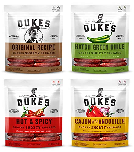 (Duke's, Shorty Smoked Sausages Variety of 4 (Original, Hatch Green Chile, Hot & Spicy, Cajun Style Andouille) - 5 Ounce)