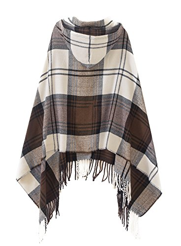 Vintage Plaid Poncho Shawl Cape Button Cardigan