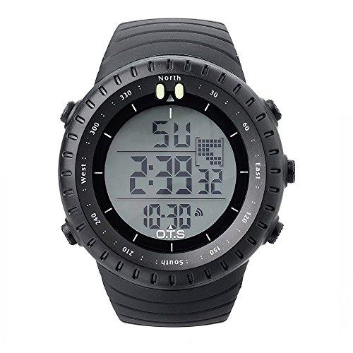PALADA Men's Sports Digital Wrist Watch Casual Quartz 50M Water Resistant with LED Backlight - (Digital Compass Wrist Watch)