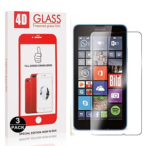 Bear Village® Displayschutzfolie für Microsoft Lumia 640, 9H Härte, Anti Kratzen, Anti Öl, 99% Transparenz Schutzfolie aus Gehärtetem Glas für Microsoft Lumia 640, 3 Stück