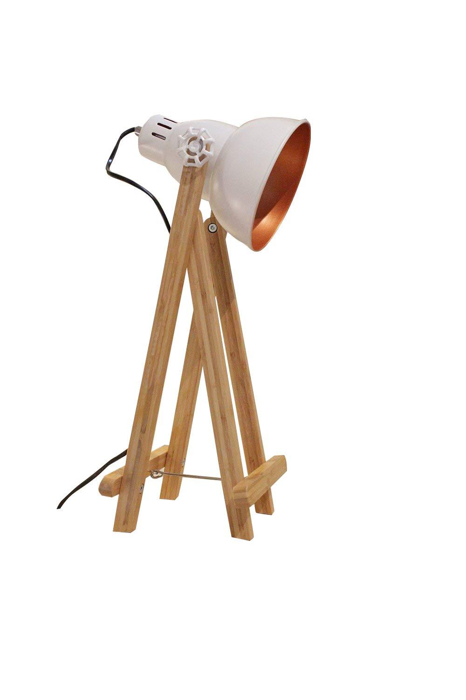 Lámpara a mesa proyector Déco acero blanco pies de madera ...