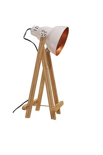 blanco mesa Déco pies a Lámpara de proyector madera acero Kcl13TFJu