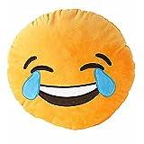 VOMO Soft Emoji Smiley Emoticon Yellow Round Cushion Pillow Stuffed Plush Toy Doll (Laugh to tear)