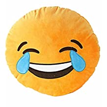VOMO Soft Emoji Smiley Emoticon Yellow Round Cushion Pillow Stuffed Plush Toy Doll (Laugh to tear)
