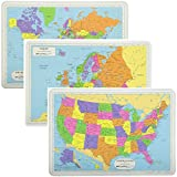 Painless Learning Educational Placemats Sets World USA and Europe Maps Non Slip Washable